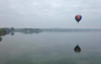 Balloon over Canandaigua in mist