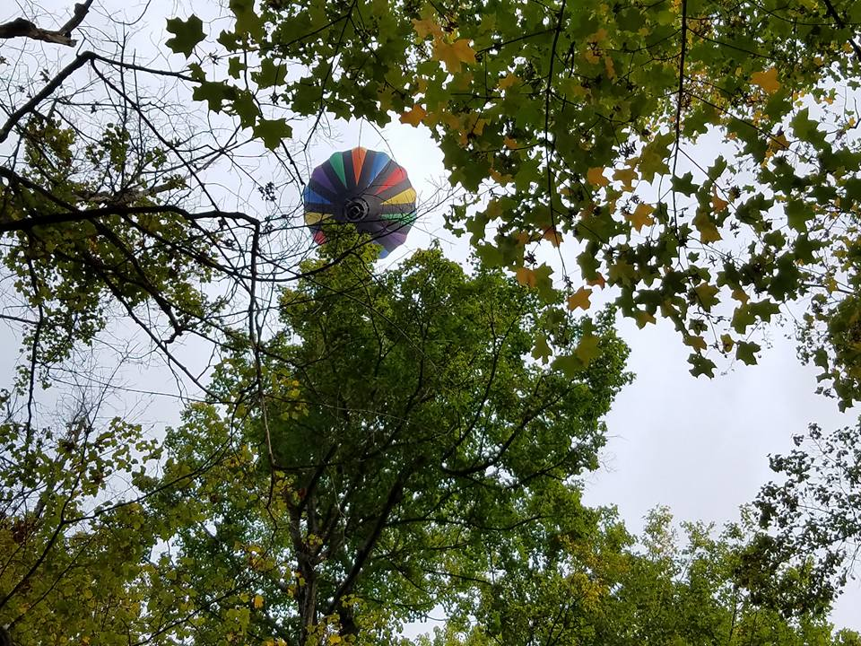 Liberty Balloon flying over Letchworth