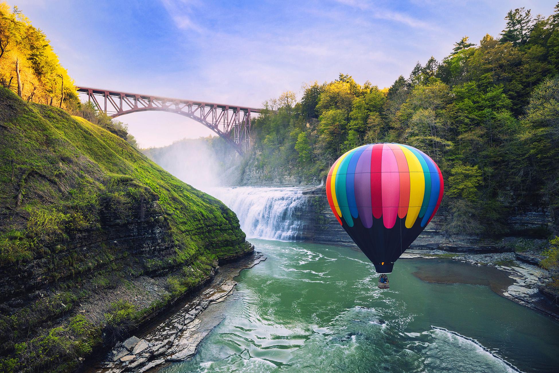 Balloon by Upper Falls and Railroad Bridge in Letchworth